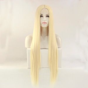 30 inch long lace front wig blonde color